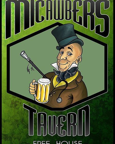 The original pub sign for Micawbers depicting the character from a Charles Dickens novel. Pic: Archa