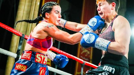 Stevi Levy and Gabriella Mezei trade punches Picture: Mark Hewlett