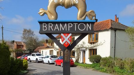 The village sign at Brampton in the Broadland district of Norfolk. Picture: Dr Andrew Tullett
