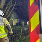 Six crews attended the fire in the kitchen of a thatched cottage in Ixworth Picture: Suffolk Fire