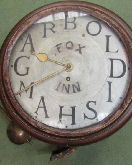 The clock which has been returned to the Fox Inn at Garboldisham Picture: EddieTheaker