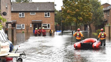 Flooding on Velda Close in Lowestoft during the torrential rain in October 2019. Picture: Michael Ho