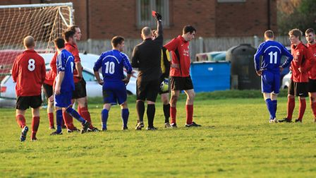 Foulsham goalkeeper James Deacon is sent off in the 3-1 defeat against Great Massingham in the quart