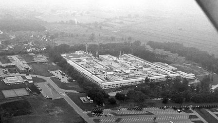 Aerial view of the Queen Elizabeth Hospital, seen from the air in around the time of its opening, in