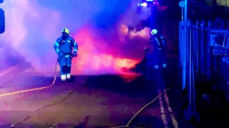 Lowestoft Police are assisting Suffolk Fire Service at the scene of a car fire. Picture: Lowestoft P