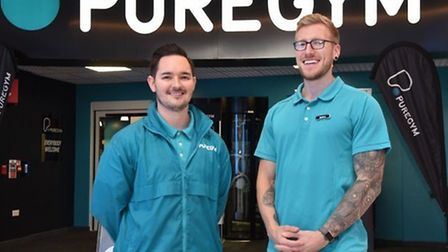 PureGym's general manager Jason Elves and colleague Matt Culliton when it opened in Castle Quarter.