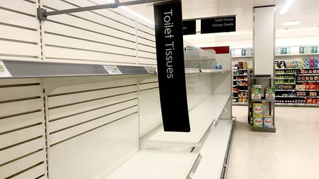 Empty toilet roll shelves in a Waitrose in Maidenhead, Berkshire over the weekend