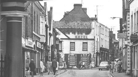Downham town centre, showing the Castle Hotel, in the 1970s Picture: Archant