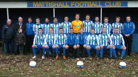 Mattishall FC in their new kit sponsored by Specsavers of Dereham.