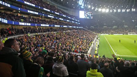 The traveling Norwich fans before the FA Cup match at Tottenham Hotspur Stadium, LondonPicture by Pa