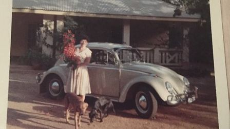 Margaret Morphew pictured in 1963 with her VW Beetle
