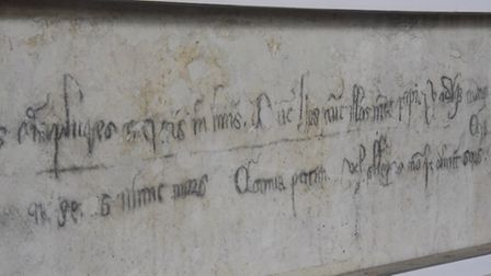 The graffiti on the wall at Acle St Edmunds Church which probably dates from the time of the Black D