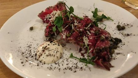Food at The Hunworth Bell in north Norfolk. Pictured is peppered beef fillet carpaccio, smoked truff