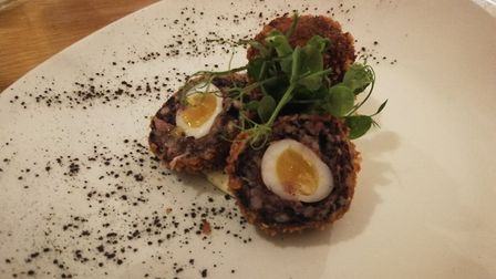 Food at The Hunworth Bell in north Norfolk. Pictured is the original 'Mr H' scotch quails eggs, must