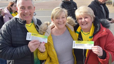 Canary Fans leave for the Norwich City v Tottenham game.Adrian Cooper, Jeanette Cooper and Anne Calv