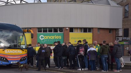 Canary Fans leave for the Norwich City v Tottenham game.Byline: Sonya Duncan(C) Archant 2020