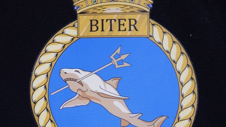 The Royal Navy patrol boat HMS Biter's crest, a shark with a spear in its mouth. Picture: DENISE BRA