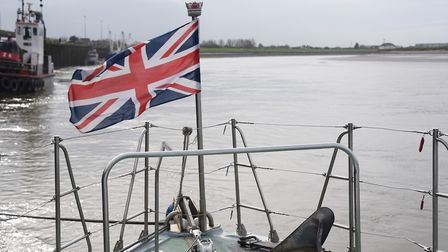 The jack (flag) at the bow of the Royal Navy patrol boat, HMS Biter. Picture: DENISE BRADLEY