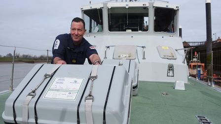 CPO Adam Cooper, executive officer (EO), on board the Royal Navy patrol boat, HMS Biter, moored at K