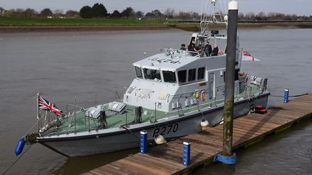 The Royal Navy patrol boat, HMS Biter, moored at King's Lynn's South Quay. Picture: DENISE BRADLEY