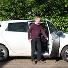 Paul Burall with his Renault Zoe - he rents the battery which keeps the costs down