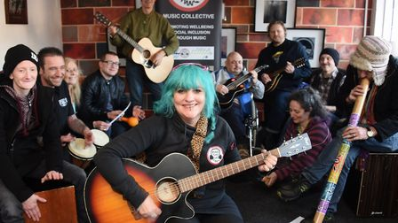 Punk rock musician, Sue Tebble, front, founder of Mind the Gap Music Collective charity weekly music