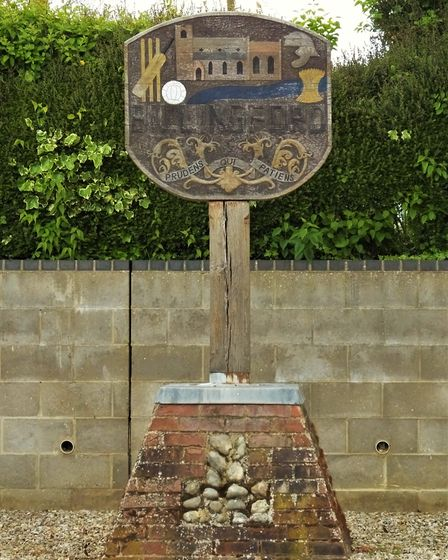 The Billingford village sign in the Breckland district of Norfolk. Picture: Dr Andrew Tullett