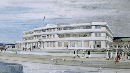 Design for the Midland Hotel, Morecambe: perspective. Hill and Dean Monroe Harvey. Picture: RIBA Col