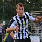 Toby Hilliard was on target for Dereham Town in their defeat agaisnt Maldon & Tiptree. Picture: Alan