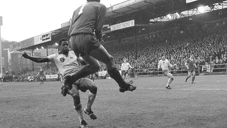 Justin Fashanu playing for Norwich City Football Club against Liverpool on 9th February 1980, the ga