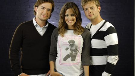 Caroline Flack with co-presenters Sam Nixon (left) and Mark Rhodes in one of her early TV jobs on ki