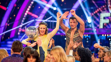 Pasha Kovalev and Caroline Flack winners of Strictly Come Dancing 2014. Picture: Guy Levy/BBC/PA Wir