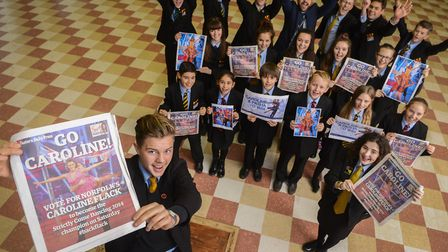 Pupils from Wayland Academy getting behind former pupil Caroline Flack when she was competing on Str