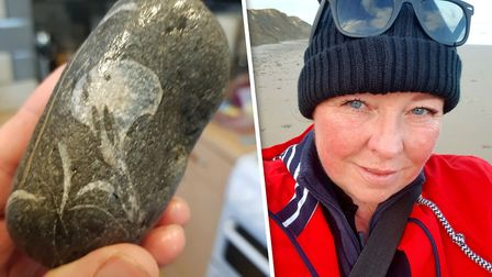 Found by Michelle Smith's on the north Norfolk coast, a limestone with the distinct appearance of a