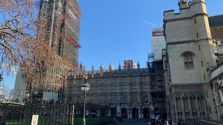 The Palace of Westminster, with much of the facade, including the Elizabeth Tower and Big Ben, cover