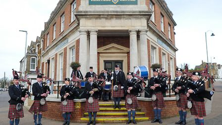 City of Norwich Pipe Band marched through town as part of the official opening of Hunstanton Heritag