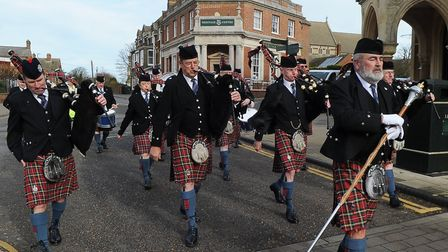 City of Norwich Pipe Band marched through town to mark the official opening of Hunstanton Heritage C
