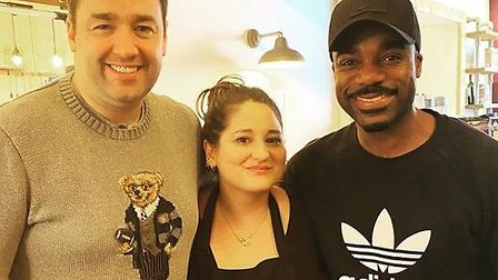 Jason Manford and Ore Oduba visited No.33 Cafe in Norwich and posed for a photo with chef Gina Watt