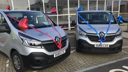 The two new vehicles that have been funded by the N & N Hospitals Charity for the Volunteer Drivers