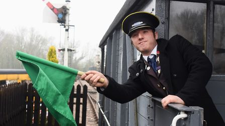 The clock is turned back to the 1940s at Whitwell and Reepham Station, pictured is railway guard Geo