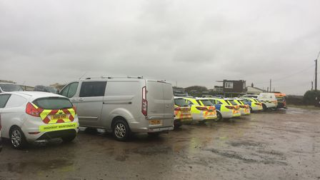 Police, Coastguard and other emergency vehicles at Happisburgh, part of the search effort for missin