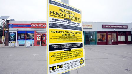 Customers of the shops on Norwich Road have received parking fines, due to the land in front of the