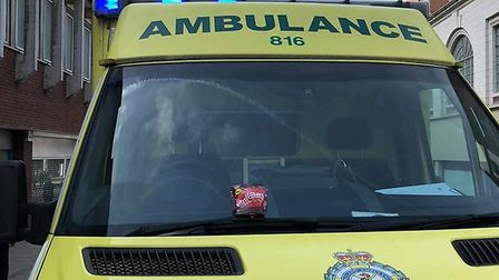 The Maltesers left on the ambulance windscreen in Norwich. Photo: Submitted