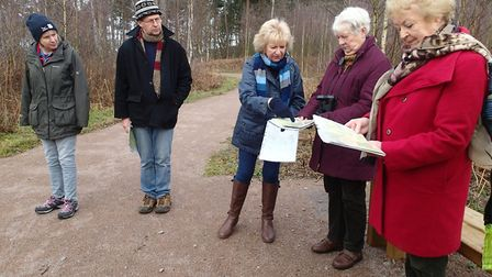 Friends of Thetford Forest volunteer and conservation group, with chairman Anne Mason (centre). Phot