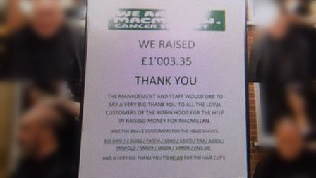 One of the posts from the Robin Hood pub's Facebook page about the Macmillan headshave and barbeque.