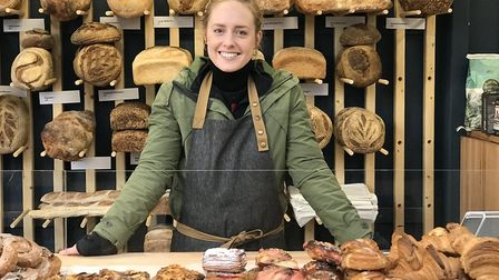 General Manager Isabel Brentnall on the new Bread Source stall in Norwich Market. picture: Ella Wilk