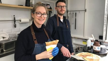 Lauren and Chris Smith, who own Christophe's Crepes, getting ready for a busy pancake day. Picture: