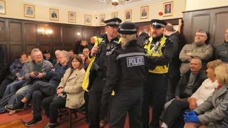 There were chaotic scenes as 50 protestors refused to leave a private Attleborough Town Council meet