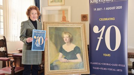 Alison Croose with the painting of Kings Lynn Festival founder, Lady FermoyByline: Sonya Duncan(C) A