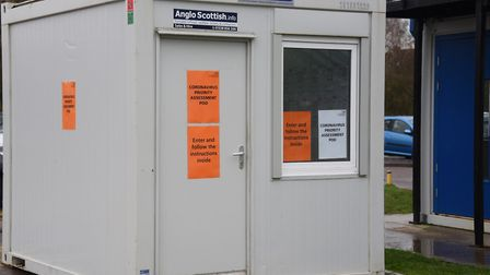 The Coronavirus Priority Assessment Pod at the James Paget Hospital. Picture: DENISE BRADLEY